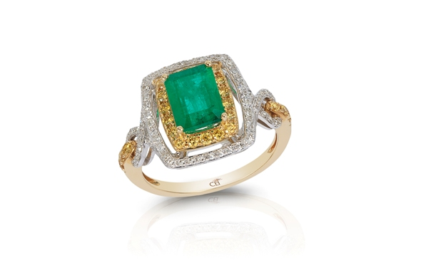 14k white and yellow gold emerald and ring